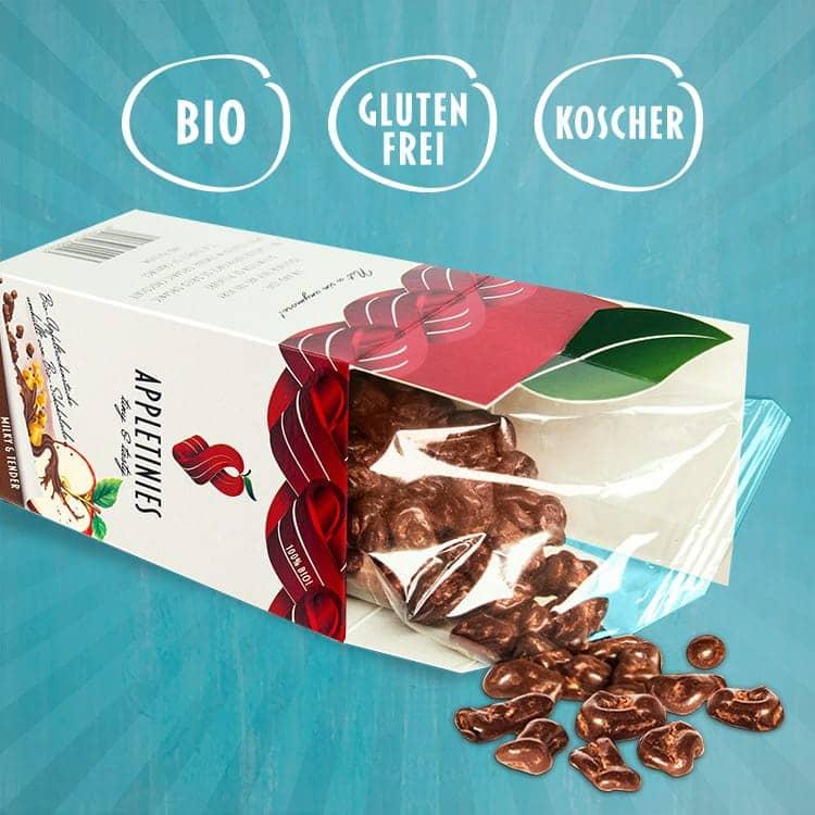 Vollmilchschokolade: bio, glutenfrei, kosher
