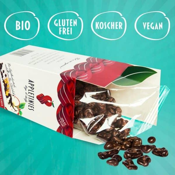 Appletinies Zartbitterschokolade: bio, laktosefrei, vegan, glutenfrei, kosher