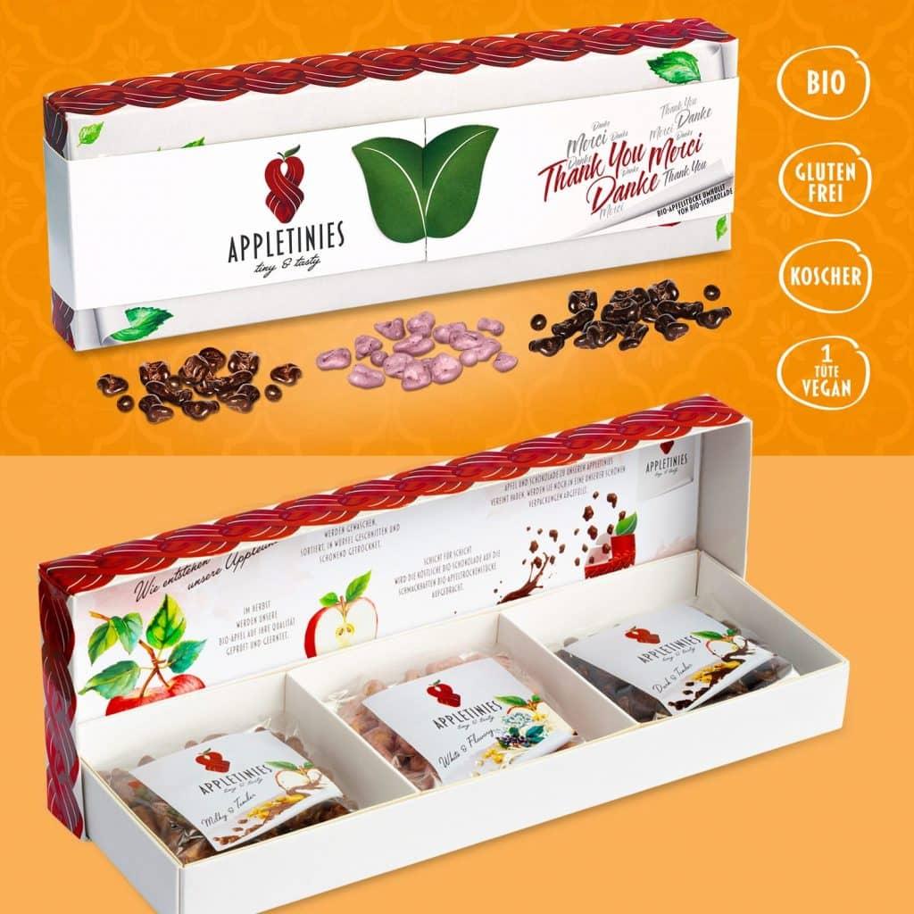 Geschenkbox – Danke: dunkle, weiße und Vollmilchschokolade