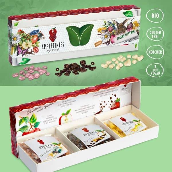 Geschenkbox – Frohe Ostern: Bio Schokolade und Bio Apfel