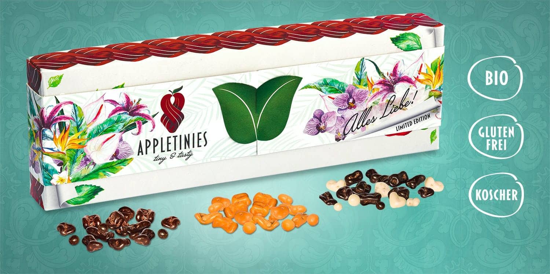 Geschenkbox – Alles Liebe: Bio Schokolade und Bio Apfel