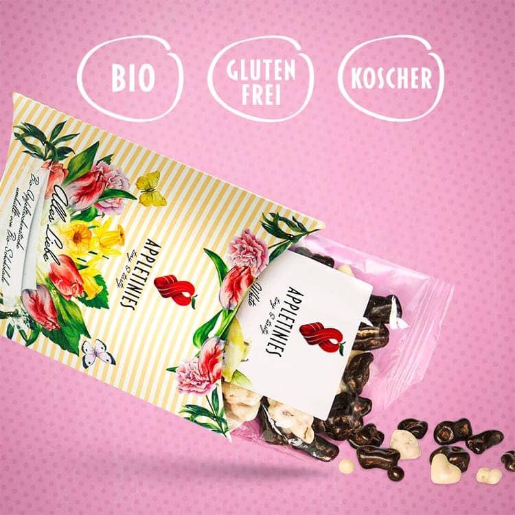 Zartbitterschokolade und weiße Schokolade mit Zitrone: bio, glutenfrei, kosher