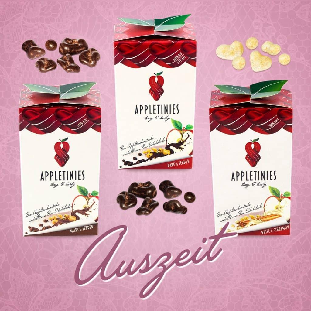 3 wunderschöne Boxen mit Appletinies: Schokolade und Apfel