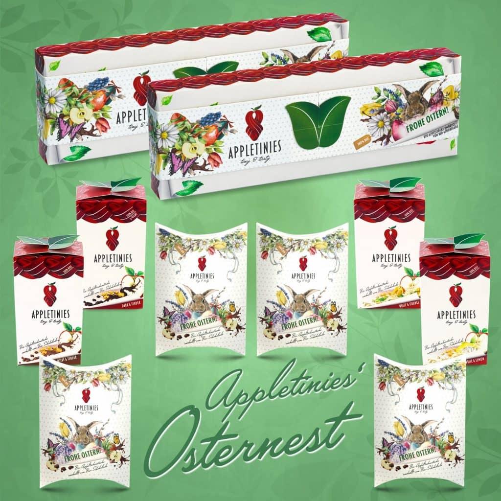 Set Osternest: wunderschöne Geschenke mit Schokolade für Ostern