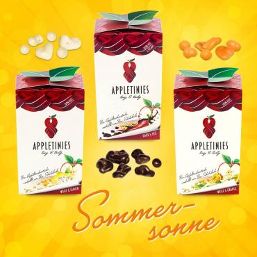 3 wunderschöne Boxen mit Appletinies: Apfel in Schokolade mit Orange, Zitrone oder Chili, glutenfrei