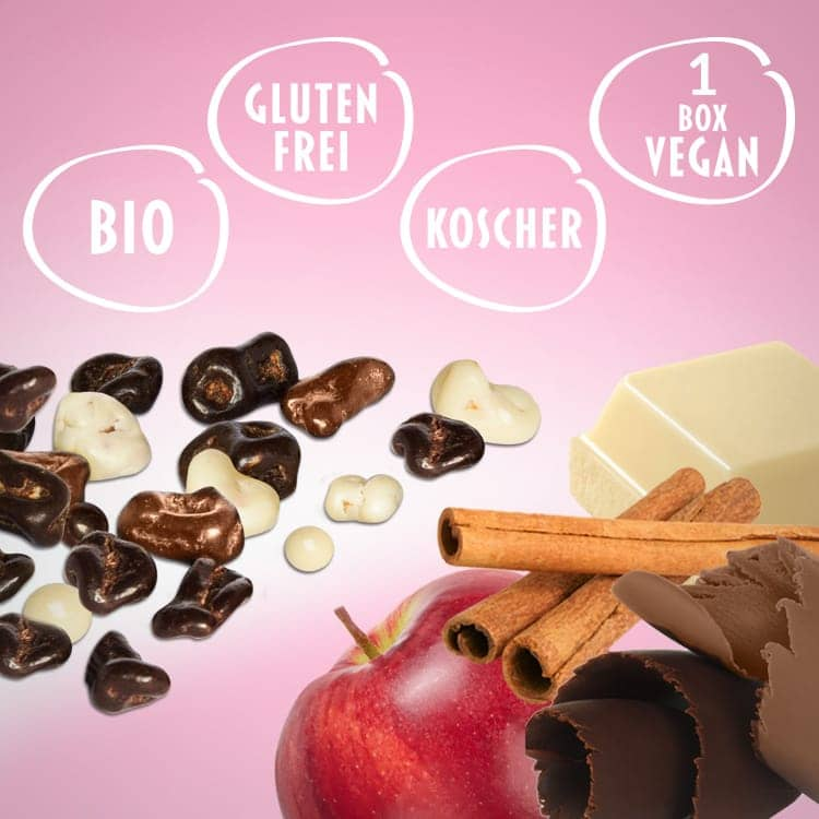 Appletinies' Set Auszeit: Dunkle und Milchschokolade, weiße Schokolade mit Zimt