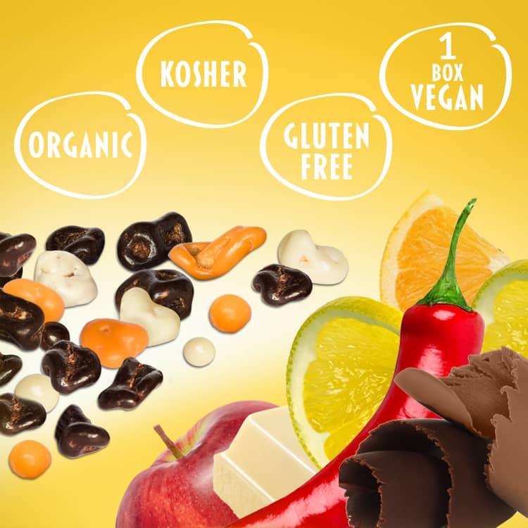Dunkle und weiße Schokolade mit Zitrone und Orange verfeinert, glutenfrei