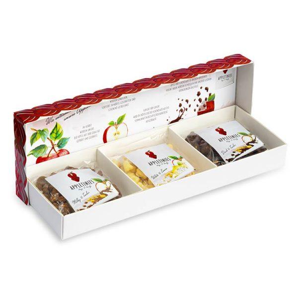 Geschenkbox – Neutral: dunkle und Vollmilchschokolade, weiße Schoko mit Zitrone