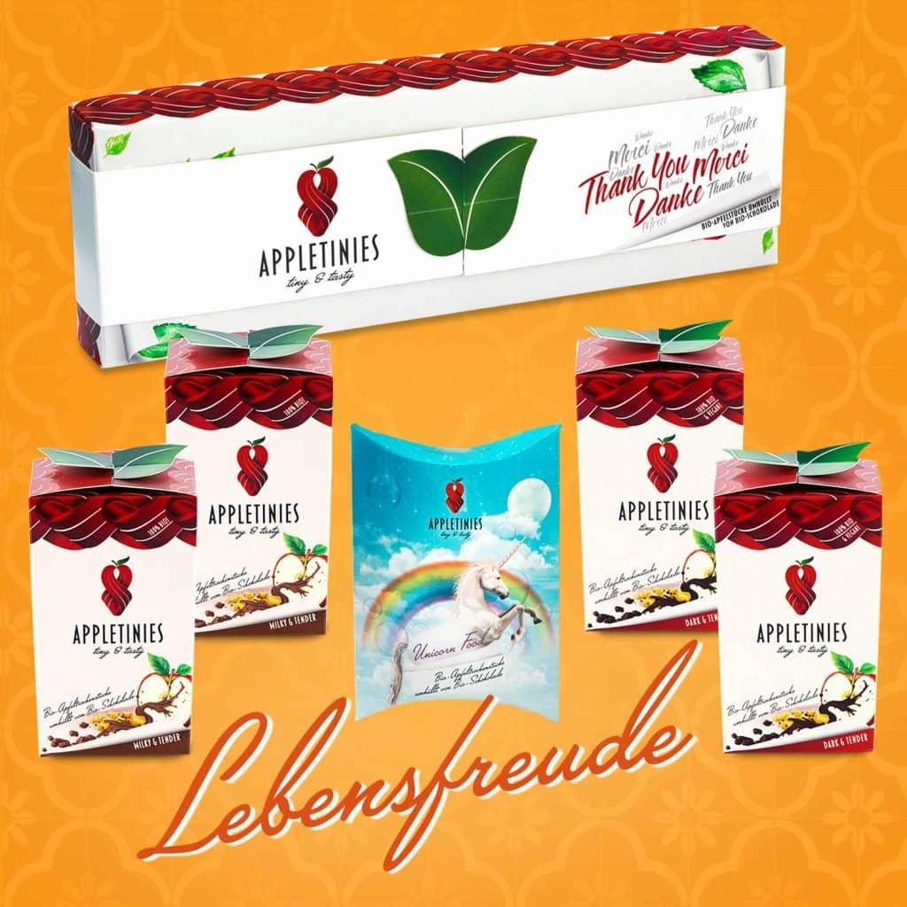 Set Lebensfreude: Schokolade mit Holunderbeerenextrakt, Einhorn-Verpackung, Geschenk