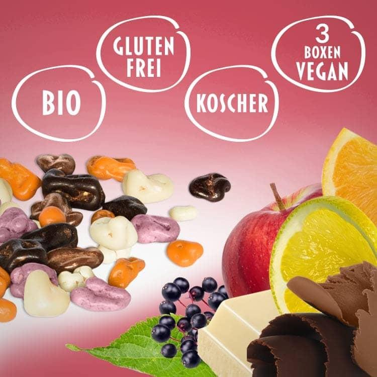 Bio Schokolade und Bio Apfel mit Zitronen, Orangen und Holler